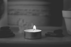 (Send me adrift.) Tags: light blackandwhite bw white black fire 50mm focus candles candle flames days flame 365 365days 158365