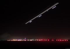 Approach (ehad.jpg) Tags: blue red christchurch night plane canon de photography 50mm lights airport long exposure purple bokeh f14 aeroplane eugene landing international brouwer airlane 600d