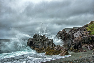 Waves crashing at Trinity Bay near Fort Point Lighthouse, Newfoundland