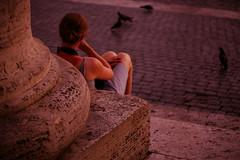 Ovunque proteggi (sensdessusdessous) Tags: roma canon eos donna riposo pietre 5d piazza sanpietro sampietrini colonna attesa emozioni piccioni colonnato markiii canoniani