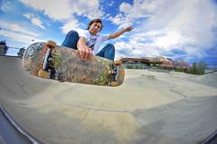 Stephen - Frontside Air (JAKE PINEDA) Tags: red arizona sky cloud mountains rock clouds nikon skateboarding sedona fisheye ollie skatepark monsoon skate skateboard d5100