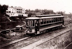 Mt. Tabor Car No. 438 near 65th & Belmont (jackonflickr) Tags: blackandwhite oregon portland mt belmont trolley mount tabor streetcar notmyphoto 65th 438 pdxhistory