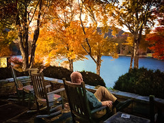 Sitting By the Lake (tombarnes20008) Tags: lake hotel lucy october chairs terrace northcarolina mansion 1912 rocking 1915 1985 2013 laketoxaway greystoneinn moltz lucyarmstrong
