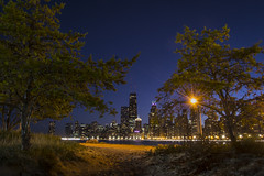 street light beach (olsonj) Tags: chicago skyline night lakemichigan bluehour