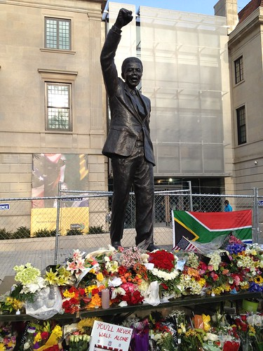 Tribute to Nelson Mandela at his statue
