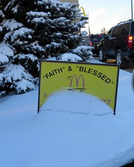 """""""FAITH"""" & """"BLESSED"""" at McDonald's. (kennethkonica) Tags: trees usa snow signs yellow america canon religious midwest traffic indianapolis faith indiana powershot mcdonalds signage blessed hoosiers signages"""