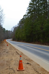 Day 28: Roadwork (01/28/14) (DavidWells254) Tags: road trees orange canon nc construction durham cone northcarolina roadwork cones vanishinglines 6d dukeforest 24105mm