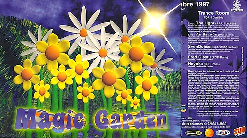 "Patrice Heyoka - Flyer 13/12/1997 - Trance room @ Magic Garden (Paris) <a style=""margin-left:10px; font-size:0.8em;"" href=""http://www.flickr.com/photos/110110699@N03/12209564914/"" target=""_blank"">@flickr</a>"
