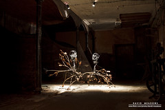 'Kissing' (DMeadows) Tags: light sculpture house art electric metal by barn scotland artwork kissing iron estate fife farm lara snowdrops lit interactive greene stable starlight cambo kingsbarns davidmeadows dmeadows davidameadows dameadows