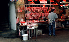 meat (Chez C - nice to be back :)) Tags: street hongkong 50mm nikon asia market stall meat butcher marketplace 香港 stalls 街市 d600