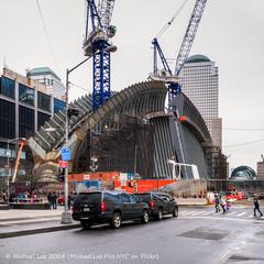 Calatrava Transportation Hub - 3/30/14 (P1320131-1_2-2_3-3_4-4_5-5_tonemapped) (Michael.Lee.Pics.NYC) Tags: world newyork hub construction cloudy center cranes transportation calatrava wtc trade hdr