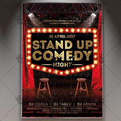 Stand Up Comedy Night - Premium Flyer PSD Template (psdmarket) Tags: act acting comedian comedy entertain humor jokes laugh live microphone music night out perform pub show stage standup theatre tv