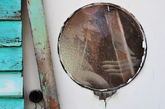 fancy glass window, hww (holly hop) Tags: wall window green porthole abandoned broken colour decay hww windowwednesdays 100xthe2017edition myplace