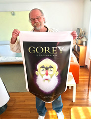 Illustrator Bob Staake with his Edward Gorey documentary project poster design. (Chris Seufert) Tags: edwardgorey bobstaake newyorker documentary film christopherseufert poster comingsoon proof artist illustrator mooncusserfilms