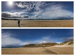 Chris on the amazing Camusdarach beach. iPhone 7 plus panorama split over 2 frames.   _______________________________________________________  #iPhone7plus  #arisaig #beach #camusdarachbeach  #insta_scotland #instagram #justgoshoot  #picoftheday #scotland