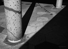 Mosaic (cybertect) Tags: canonfd50mmf14 croydon ronaldwardandpartners sonya7 stgeorgeswalk architecture blackwhite blackandwhite building column hexagon monochrome mosaic shadow