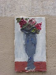 Graff in Paris - by ? (brigraff) Tags: streetart painting tableau fleurs naturemorte flowers vase paris brigraff