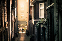 spring alleyway (bjdewagenaar) Tags: alley alleyway street streetphotography dutch holland gorinchem gorcum minolta 50mm prime f14 people buildings pavement bricks colors sony sonya58 a58 alpha primelens city urban sun sunny raw lightroom