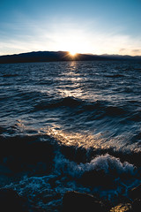 Evening waves (joshhansenmillenium) Tags: nikon d5500 photography tamron 18200mm crystal ball utah lake state park ensign peak salt city hiking nature water waves sunsets mountains sunset layers provo adventure capitol building island reflections refractions