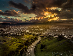 Entering LA (mcalma68) Tags: los angeles sunset skyline highway clouds drone dji aerial view