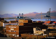 Rooftops (Rollingstone1) Tags: docks firthofclyde greenock scotland cranes city cityscape landscape hills outdoor scenery oakmall buildings architecture marine mountains
