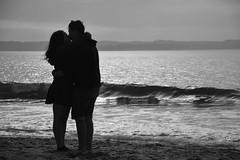 BW Lovers (ignaciovidelahidalgo) Tags: love ocean sea beach sand lovers coulple kiss blackandwhite black white bw chile tome nikon nikond3300