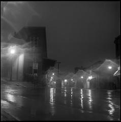 Flatiron Flare (argentography) Tags: yashica yashica124 hp5 flare night streetlight galena illinois