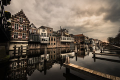 mirror harbor (bjdewagenaar) Tags: harbor water reflection clouds wideangle sigma sony sonya58 gorinchem gorcum holland dutch perspective houses buildings architecture city cityscape urban raw lightroom