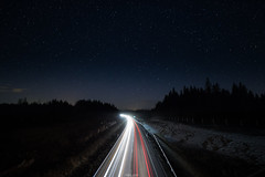 Away & Towards (laurilehtophotography) Tags: longexposure traffic carlights stars landscape view night spring road highway nikon d3100 sigma 1020mm f35 ex