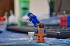 Benny can float!? (parik.v9906) Tags: toys toy depthoffield indoors desk cat old astronaut space levitate fly float 365project 365days 365 d90 nikon minifigures minifigure minifig legos lego