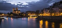 Blue hour in Paris (Ludo_Jacobs) Tags: paris france europe bluehour notredame seine river architecture travel night darkness longexposure