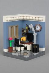 Home Office (jsnyder002) Tags: lego moc model creation scene interior room living office computer chair window desk lamp clock wastebasket trashcan plant floor design