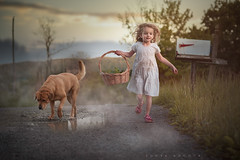 Checking the Mail (re-edit) (Sonya Adcock Photography) Tags: girl child kid photography childphotography light evening glow warm family painterly portrait ray poetry poetic story nikon nikond700 nikkor nikkor105mmdc childhood fineart fineartphotography art sonyaadcockphotography dog dogs animal sunset mailbox