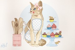 Kitten Chef with Cupcakes postcard (1) (lostinmaroc) Tags: desserts dessert cupcakes cupcake chef cat kitten postcrossing postcard