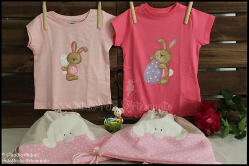 """T-shirts de criança e mochilas """"Pulinho de Coelho"""""""