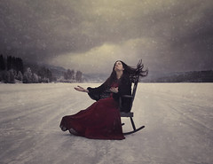 Expecting Storm (Maren Klemp) Tags: fineartphotography fineartphotographer darkart darkartphotography color chair ice winter snow storm dramatic clouds sky woman portrait selfportrait nature naturallight outdoors conceptual surreal ethereal