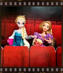 Movie night (in honour of watching beauty and the beast last night) (alexmadalton) Tags: dolls popcorn movie disney rapunzel tangled frozen elsa