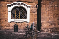 everyday poetry (cherryspicks (on/off)) Tags: florence italy urban city street window bicycle fountain wall water wet