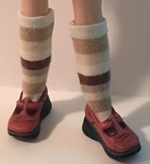 Shades of Brown Striped Short Socks...For Blythe...