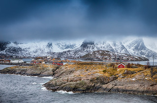 Travel Concepts and Ideas. Traditional Norwegian Fishing Hut Called Hamnoy in Norway.