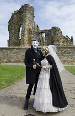 Steampunk couple in front of Whitby Abbey (RedPlanetClaire) Tags: whitby gothic weekend goth goths alternative steampunk couple abbey