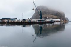 Vestmannaeyjar (holger.torp) Tags: vestmannaeyjar reflections sea ocean harbour crane krani höfn sjór þoka mist fog