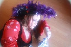 Chinese Spirits in a Porcelain Pot (blackunigryphon) Tags: blue red woman white black girl hat lady purple feathers drinking pot liquor pirate wench pyrate alcohal baijiu csoplay chinesespirits kandicezimbleman marshallkändis fineliaquor