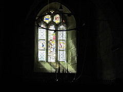 Luxulyan Parish Church, Cornwall: stained glass window and bell ropes. (johnpaddy22) Tags: china uk lines station train cornwall railway clay valley freight dries bugle luxulyan kernick treviscoe