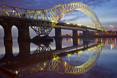 The Bridge... (Chrisconphoto) Tags: uk bridge reflections lights flipped merseyside widnes goodlight runcornbridge