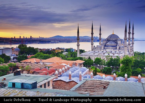 Turkey - Istanbul - Sultan Ahmed Mosque -Sultanahmet Camii - Blue Mosque - One of the most famous monuments of Turkish and Islamic art