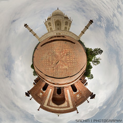 Balancing Tajmahal - 360 degree Panorama (sachink20) Tags: camera morning travel blue sky panorama india abstract color nature colors beautiful architecture clouds composition canon landscape photography colorful colours photographer angle earth indian awesome experiment taj tajmahal agra ground 360 planet monuments 360panorama 2013 flickraward canon550d sachin20 sachink20
