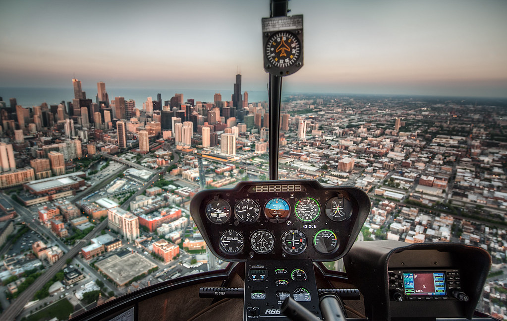 The first of many shots to come from last week's sunset helicopter tour over Chicago