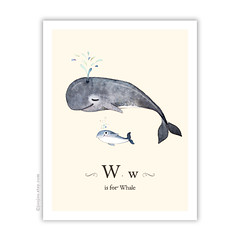 Whale . Cream background ({JooJoo}) Tags: ocean cute art wall illustration watercolor painting print children mother whale etsy archival aquaticanimal joojoo giclee watercolorpainting kidsroomdecor aquaticcreature wisforwhale afsanehtajvidi