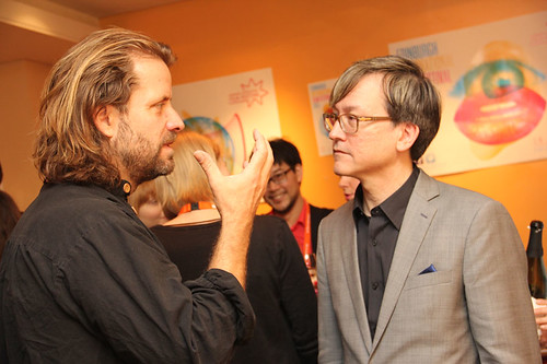 Chris Fujiwara and Lucian Castaing-Taylor at a pre-awards drinks reception